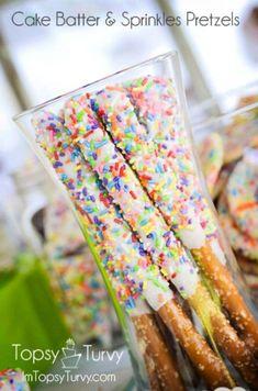 Cake batter and sprinkles pretzels!