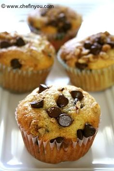 food recip, chip muffin, walnut muffin, muffin recipes, chocolate chips, chocolates, mousse, chocol chip, baking