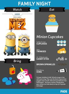 Your little minions will love this Family Movie Night with Despicable Me 2 On Demand. We've got a recipe for Minion Cupcakes, and bring along your fluffy unicorn, juice boxes, and slippers for a fun, kid-friendly night in. #movienight