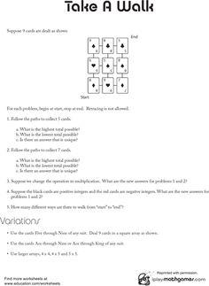 Worksheets: Integer Game