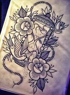 MIKE THIS IS MY NEW TATTOO IDEA FOR OUR JACKSONVILLE TRIP! THIS IS PRETTY MUCH WHAT I WAS THINKING. AN HOUR GLASS, ROSES, MANDALA FLOWERS, AND A PEARL NECKLACE WITH A COMPASS ATTACHED TO IT. I ALSO WANT JEWELS AND DIAMONDS AROUND IT. I WANT IT TO CONNECT TO THE TATTOO I HAVE ON THE LEFT SIDE OF MY BACK. I WANT IT TO GO DOWN AND CONNECT TO TATTOO I HAVE ON THE LEFT SIDE OF MY THIGH.