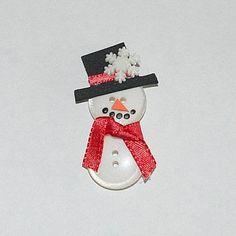 Magnet snowman made of buttons