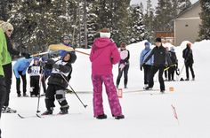 Ski games just for kids at the Kids'N'Snow program in West Yellowstone, Montana