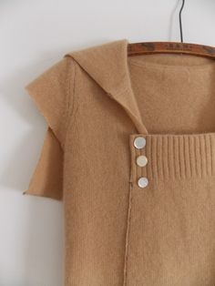 Hand stitched & repurposed camel cashmere cap sleeve sweater with sailor collar & 3 vintage shell buttons.
