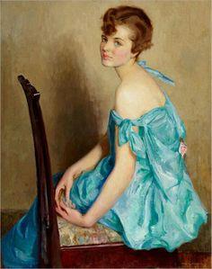 Mujer de azul (Woman in blue) William Arber Kirkpatrick 1880-?
