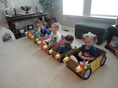 """Drive-in movie night - make """"cars"""" out of cardboard boxes - what kid doesn't love boxes??"""