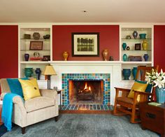 Red living room with fireplace
