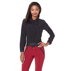 This black bow tie blouse by Kelly Osbourne pairs beautifully with burgundy pants! How would you style it?