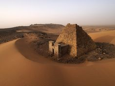 Meroe Archaeological Site, an ancient city on the east bank of the Nile about 6 km north-east of the Kabushiya station near Shendi, Sudan, approximately 200 km northeast of Khartoum.  / Meroë was the southern capitol of the Napata/Meroitic Kingdom, that spanned the period c. 800 BC — c. 350 AD. According to partially deciphered Meroitic texts, the name of the city was Medewi or Bedewi. // Photo by paolo alias opaxir (Flickr)