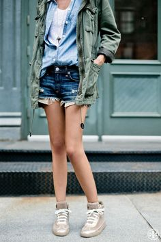 Made for each other: denim cut-offs and Tory Burch high-tops