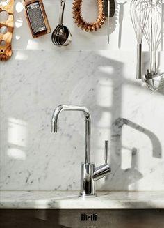 marble backsplash.