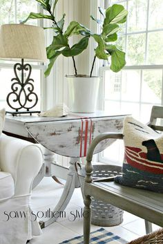 striped drop-leaf table: Grain Sack Inspired -- Savvy Southern Style