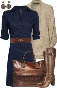 Blue dress tan cardigan and brown boots