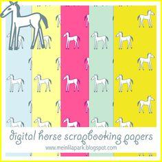 free digital horse scrapbooking papers - ausdruckbare Geschenkpapiere - freebie | MeinLilaPark – DIY printables and downloads