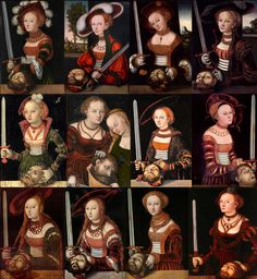 I absolutely love the orange and green high-collared dress (2nd from left, top row). The face of Judith, in Cranach.  Collage from various sources for class about historic fashion in art. Link provided to Lucascranach.org Digital Archive