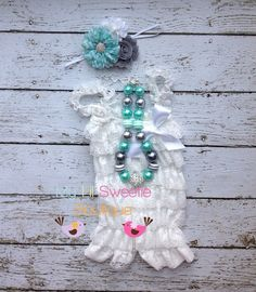3 piece set, white mint gray- Vintage Lace Petti Romper - Photo prop-Baptism outfit Christening outfit- Newborn - Baby Girl - Toddler