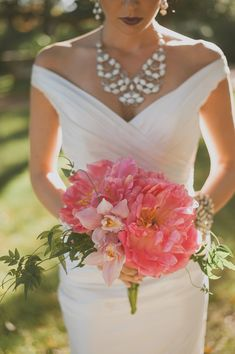 fluffy peony bouquet, photo by Day 7 Photography http://ruffledblog.com/metallic-garden-wedding-inspiration #flowers #peonies #pink