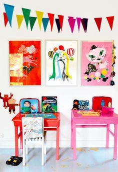retro modern kids room desk ideas