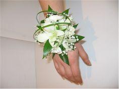 White Wrist Corsage babies breath, prom corsage orchid, prom flowers, bracelets, wrist corsage prom, bears, daisies, arrang corsag, green wrist