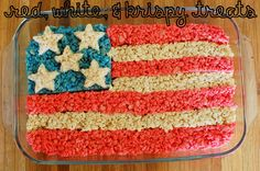 Red, White, and Krispy Treats - 4th of July Picnic Food. Patriotic kids snack.