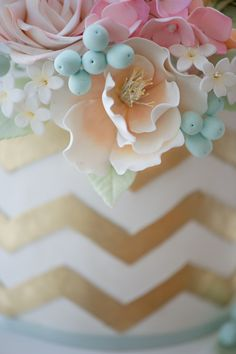 pastel sugar flowers on wedding cake,  | New Cake Design: Gold Chevron with Vintage-Inspired Flowers | Erica ...