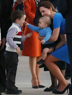 Prince George with Kate Middleton.  Duchess of Cambridge