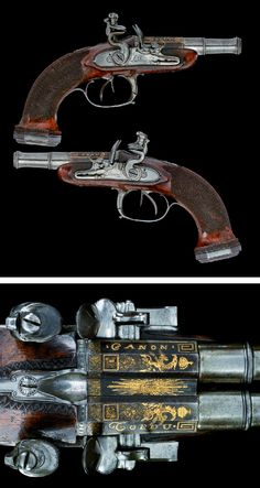A FINE PAIR OF 60 BORE D.B. FRENCH FLINTLOCK PISTOLS BY BRUNON L'AINE, ST ETIENNE, CIRCA 1790 .