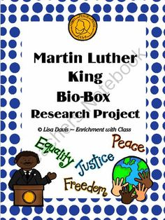 Martin Luther King Bio-Box Research Project  from Enrichment with Class on TeachersNotebook.com -  (13 pages)  - For Black History Month in February: A hands-on, fun way to immerse your students in research about Martin Luther King! 13 page Martin Luther King Bio-Box project packet has everything you need for students to research and assemble a Biography Box of crea