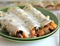 Shrimp enchiladas with jalapeño cream