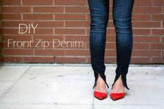 DIY Fashion, DIY Zipper, DIY Denim, Front Zip Denim, Front Zip Jeans