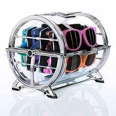 Luneti sunglass storage. Holds 8 pairs in one case that takes up only 8 inches.