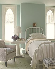 wall colors, beds, guest bedrooms, blue, white, paint colors, windows, guest rooms, painted floors