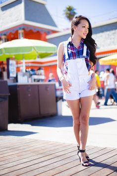 deb shops, street style, coast to coast street style, all american girls, white overalls, plaid top, style by alina, fashion blog