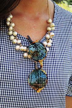 Gingham, Tortoise & Pearls
