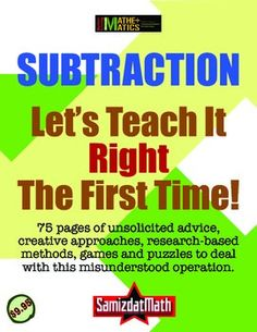 This is the most complete guide you will ever own that answers each and every one of the questions you have ever had about teaching subtraction from grades K - 6. I mean, EVERY SINGLE THING YOU EVER WANTED TO KNOW ABOUT TEACHING SUBTRACTION FROM Kindergarten through 6th GRADE.