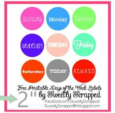 Free printable days of the week circles. Simply punch out with a 2-inch circle punch.