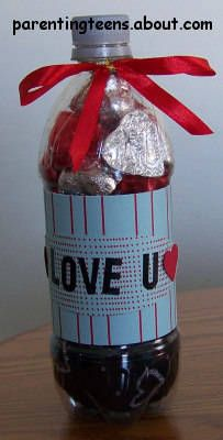Soda Bottle Gift Ideas Craft - cut a slit or whole in the bottle, then fill it up with gifts and add a label. Too cute!