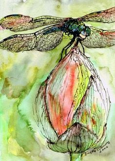 Do you Love Dragonflies? Dragonfly Watercolor and Ink Painting as fine Art Print
