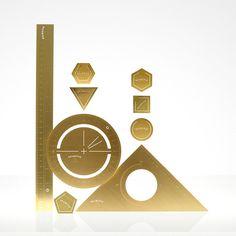 The Mathematician Set in brass tom dixon, inspiration, desktops, art, desk set, desks, mathmetician desk, brass, design