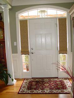 Custom roman shades for sidelight windows at front door