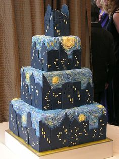 Starry Night on the Mississippi cake – skyline cake designed for a reception at the top of the IDS tower in Minneapolis. Also incorporating Van Gogh's Starry Night. By Gateaux Inc.