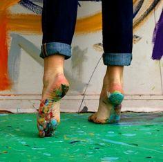 hand, studio, make art, dream, color, footprint, paint, artist, canva