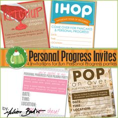 YW Personal Progress Printable Invites for fun parties that focus specifically on working on Personal Progress.