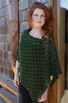 """Free pattern for """"Crocheted Easy Rapper""""...can be worn as a Poncho, Shrug or Cardigan!"""