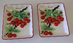 Vintage cherries wall plaques for the kitchen.