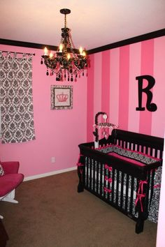 Hot pink stripes & black damask create a chic #nursery look!  #hotpink #damask #black #stripewall
