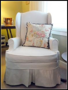 My first slipcovered wingback