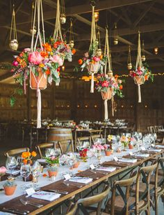 table settings, plant hangers, barn, whimsical wedding, hanging flowers, terracotta pots, hanging planters, hanging baskets, hanging pots