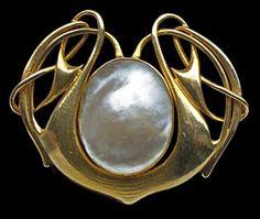 liberty, brooches, gold pearl, archibald knox, pearl brooch, jewelri, pearl liberti, art nouveau, art craft