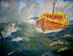 """Una idea, mucho arte """"Pesca con caña"""" Acrílicos sobre cartón gris sin imprimar, 25 x 32 cm Autora: Angela Vadalá"""